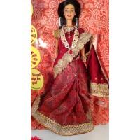 Барби индийская в шелковом сари Бордовая роза